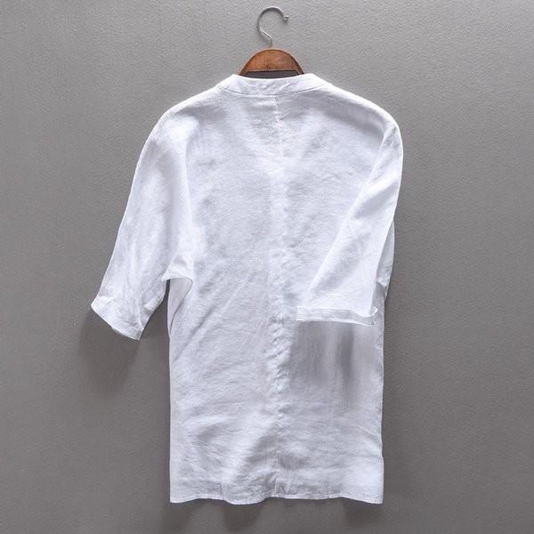 シャツ メンズ 五分袖 白シャツ リネンシャツ 綿...