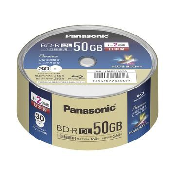 Panasonic 録画用2倍速BD-R DL 50GB スピンドル30...