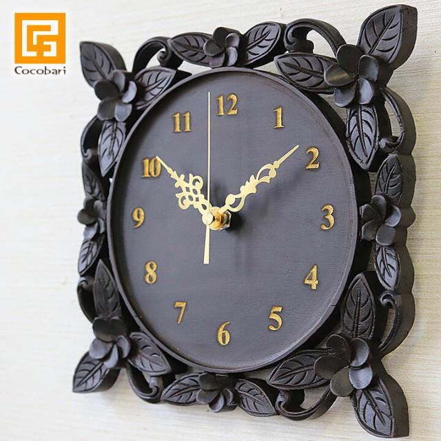 木製レリーフ時計  プルメリア24cm (レーザー彫り...