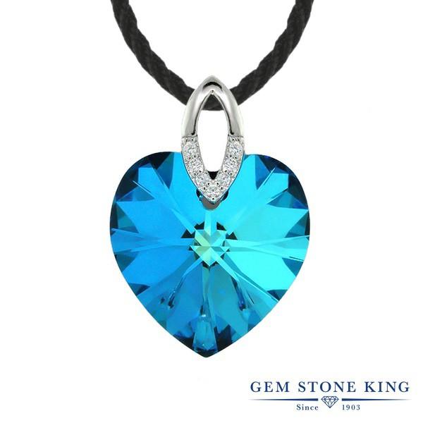 Gem Stone King ハートシェイプ ブルー スワロフ...