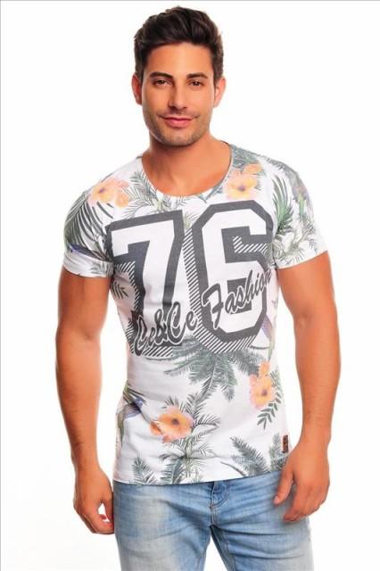 半袖 Tシャツ メンズ 76花柄 ボタニカル 白地/1...