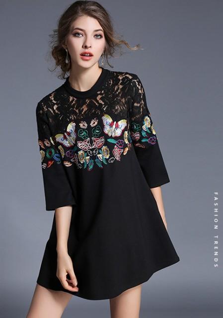 216f6f1b9d15d 【送料無料】刺繍入りレースのブラックワンピース 通販 レディース 服 ファッション コーディネート 刺繍
