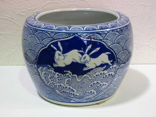 ミニ火鉢 火鉢  うさぎ 陶器 水鉢