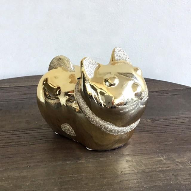 駒猫金色貯金箱