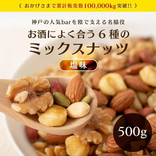 ミックスナッツ 500g 塩味 送料無料 1000円 ポッ...