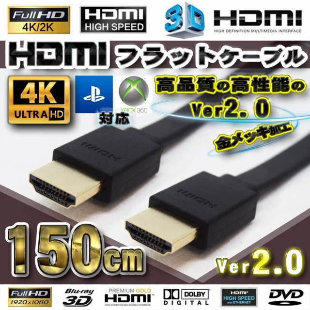 HDMI フラット ケーブル 150cm(1.5m) 4K 3D対応 V...