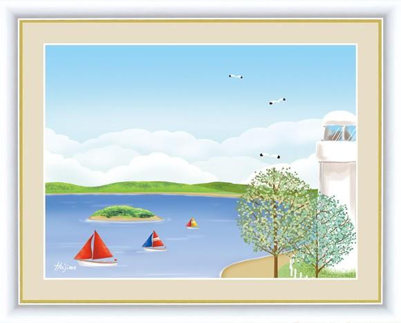 【F6】のどかな心の風景絵額 海辺の灯台 喜多一 ...