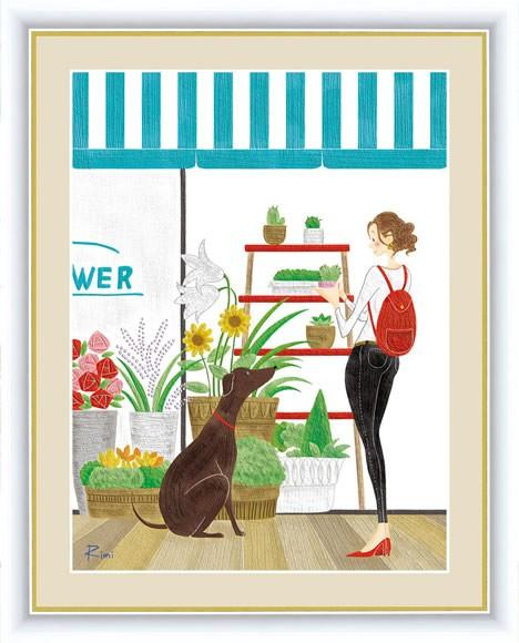 【F6】ショッピングをテーマ額絵 フラワーショッ...