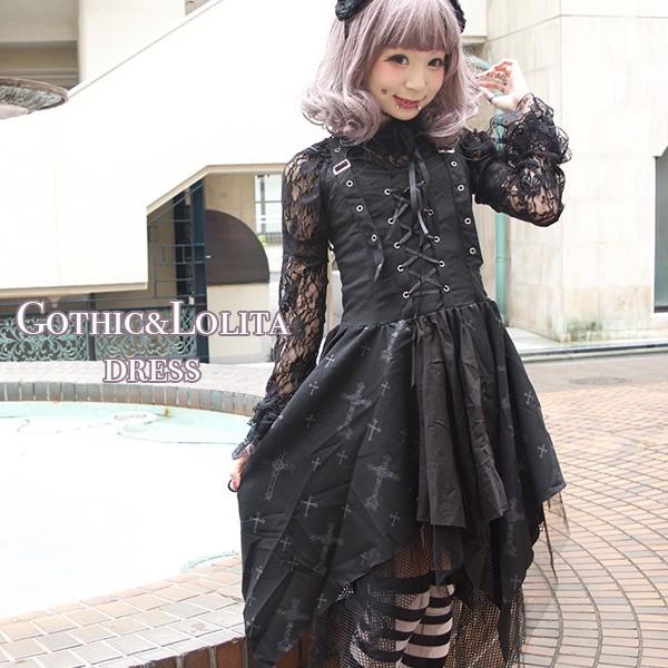 クロスワンピース ゴスロリ ワンピース 黒 ドレス...