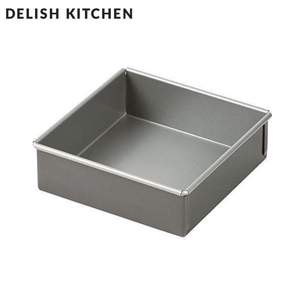 DELISH KITCHEN ふっ素加工スクエアケーキ型 15cm...