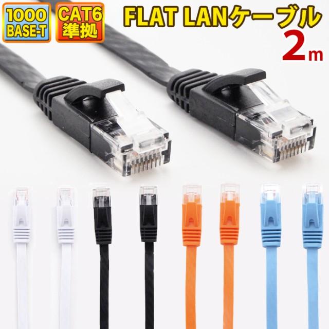 LANケーブル ランケーブル フラット 2m CAT6準拠 ...