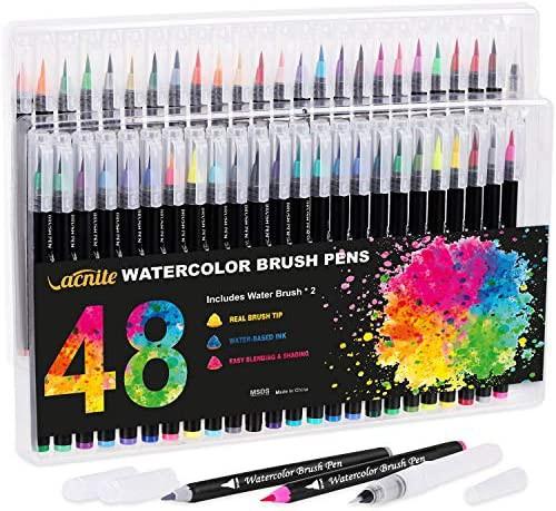 VACNITE 水彩毛筆 カラー筆ペン 48色セット 水性...
