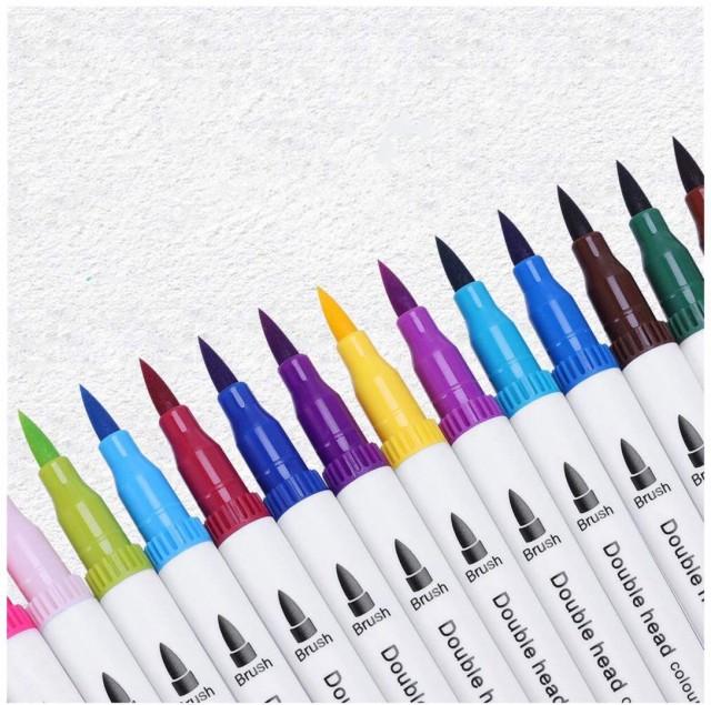 カラーペン 筆ペン 24色セット 水彩ペン マーカ...