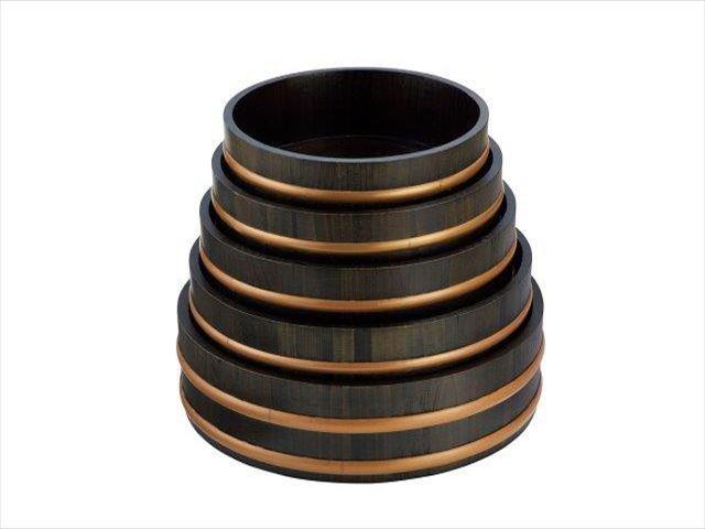天然木盛込桶 黒彩色(目皿なし) 9寸
