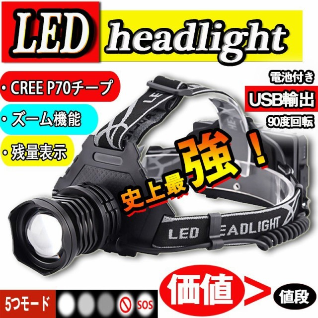 LEDヘッドライト 超強ルーメン ヘッドライト 高輝...