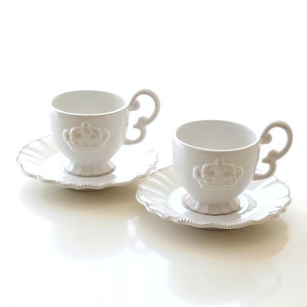 コーヒーカップ&ソーサー 陶器 白 ティーカップ ソーサー ペアカップ カップ&ソーサー アンティークなペアカップ ホワイトクラウン