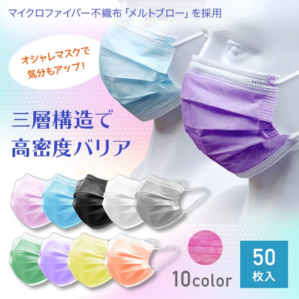 マスク 不織布 使い捨てマスク 防塵マスク 50枚入...
