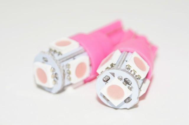 LED ウェッジバルブ T10 ピンク(2点セット)