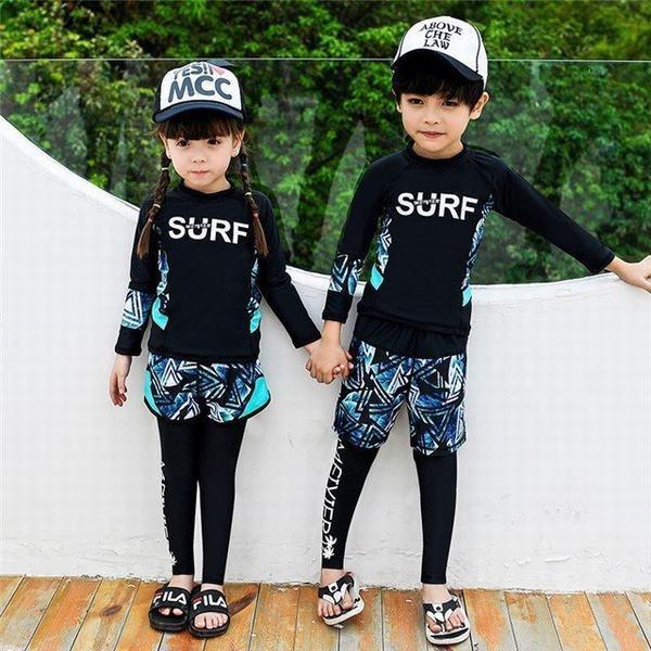 キッズ 子供 ラッシュガード水着 長袖 女の子3点セット/男の子3点セット キッズ ボタニカルデザイン UVカット 紫外線対策 日焼け防止 速