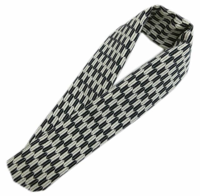 半衿 半襟 和柄 黒薄グレー地矢絣 日本製 カジュ...