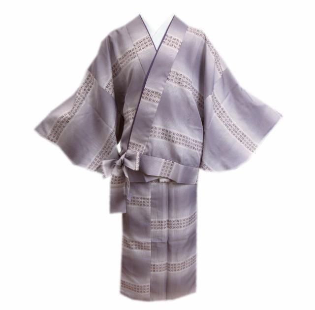 二部式 着物 洗える 袷 渋薄紫ぼかし地ライン小花...