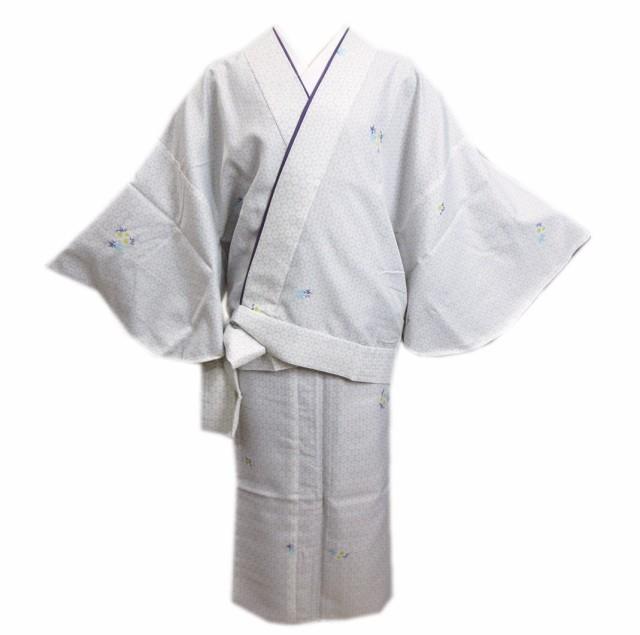 二部式 着物 洗える 袷 淡ベージュグレー地亀甲桜...