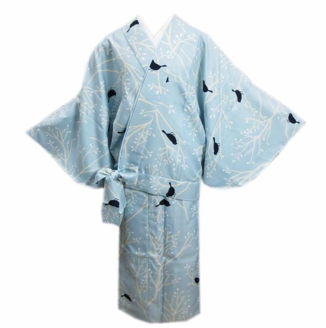 二部式 着物 洗える 袷 水色地小鳥小枝 M L ユ...