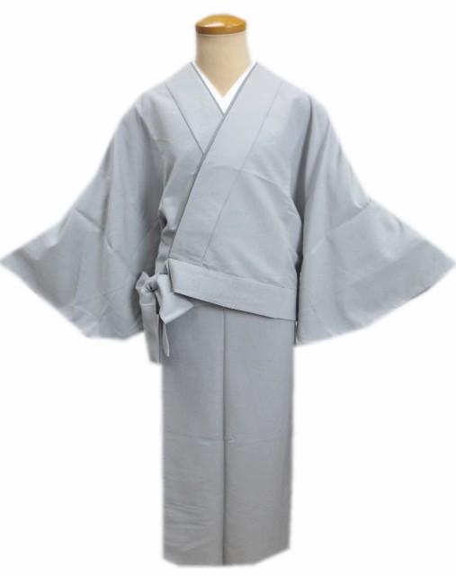 簡単女性用レディース洗える袷二部式着物グレー色...
