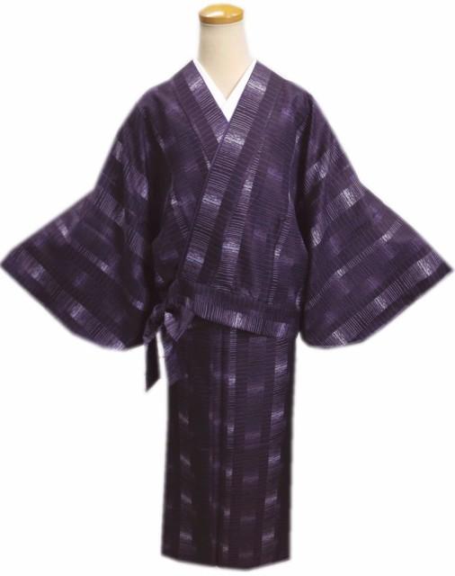 簡単女性用レディース洗える袷二部式着物濃紫色地...