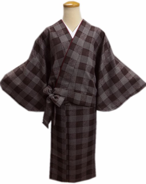 簡単女性用レディース洗える袷二部式着物茶色地江...