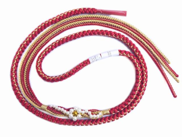 パール花飾り付先割れ正絹帯締め帯〆ワイン赤色 ...