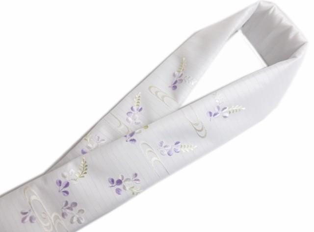 夏用(絽)刺繍半衿半襟白色地薄紫萩波紋 夏物着...