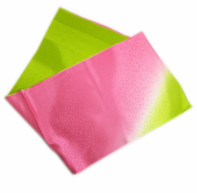 帯揚げ 帯上げ 正絹 染め分け ピンク黄緑色 日本...