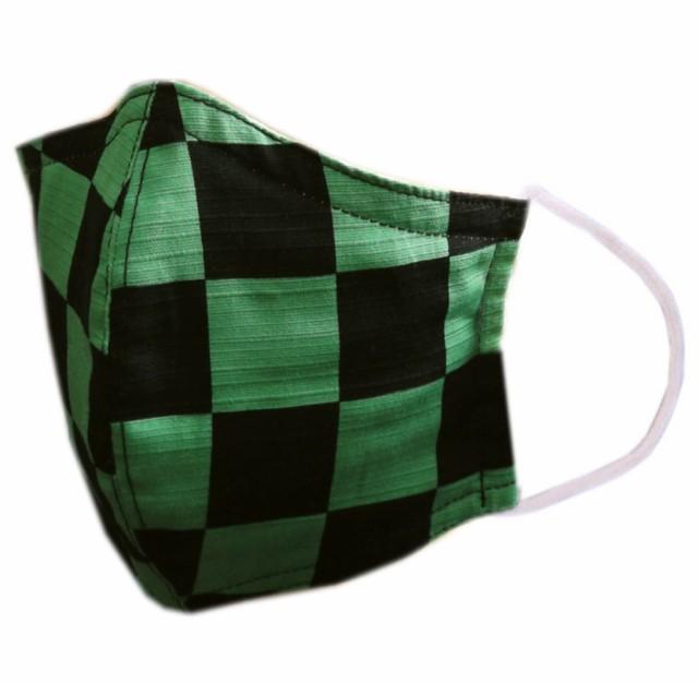 【即発送可】 布マスク 大人用 和柄 洗える 綿 緑...
