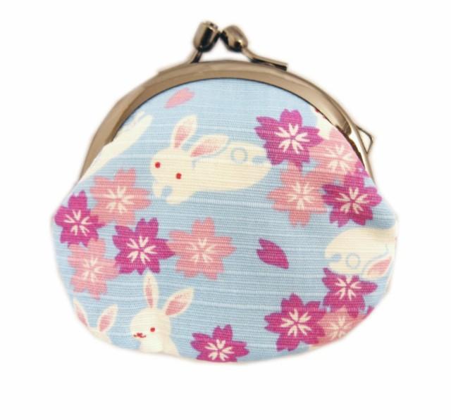がま口 財布 サイフ 小銭入れ 和柄 日本製 桜うさ...
