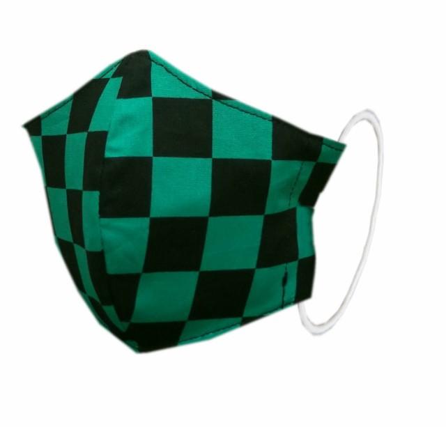 【即発送可】 布マスク 子供用 和柄 洗える 綿 緑...