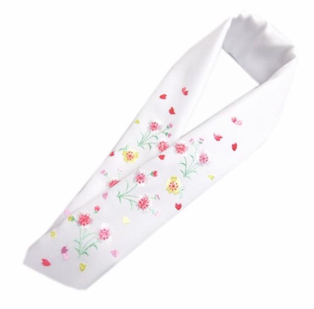 半衿 半襟 刺繍 白色地ピンク黄色桜舞花びら 振袖...