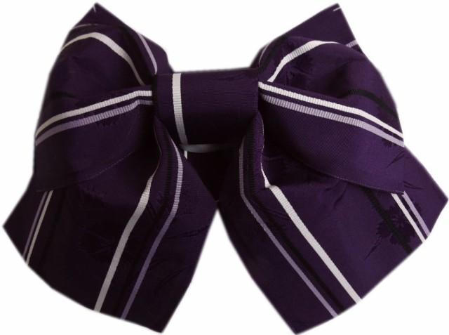 簡単浴衣ゆかた柄結び帯付け帯作り帯濃紫色地撫子...
