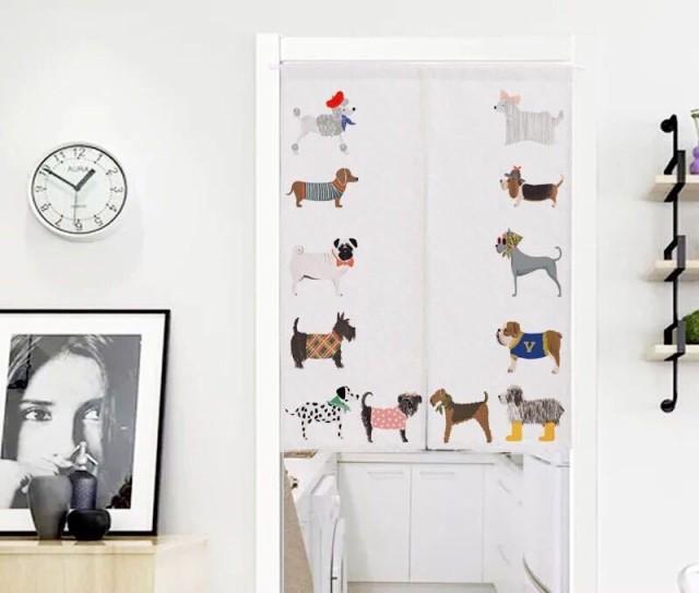 のれん ロング 暖簾 85×120パグ犬 犬柄 イヌ か...