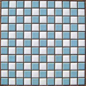 昔からのタイル 25mm角 白×水 市松貼り