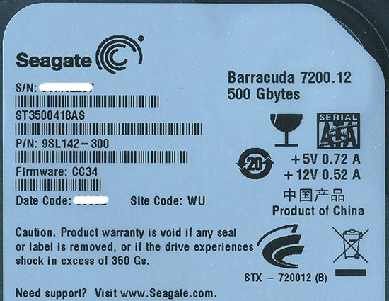 SEAGATE製HDD★ST3500418AS★500GB SATA300 7200...
