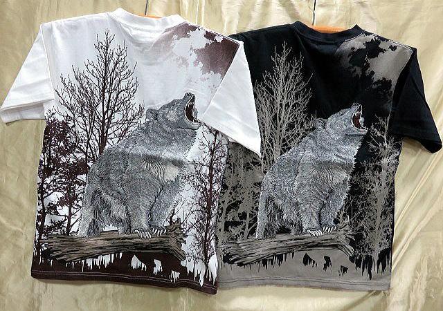 華鳥風月 和柄 半袖Tシャツ 月に熊刺繍