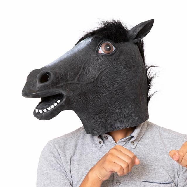 ラバーマスク 黒馬 馬 うま ブラック 黒 ホース ...