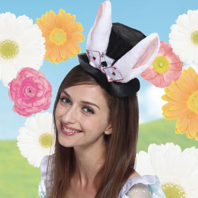 トランプ カチューシャ ブラック ウサギ耳 うさぎ アリス マジシャン ハット 帽子 アリスウサギ フリーサイズ かわいい セクシーコスプレ