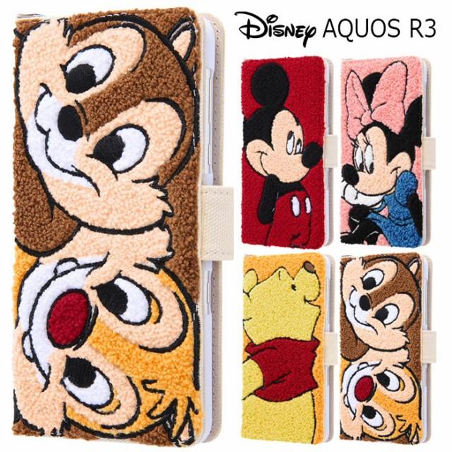 送料無料 AQUOS R3 ディズニー サガラ刺繍 ケース...