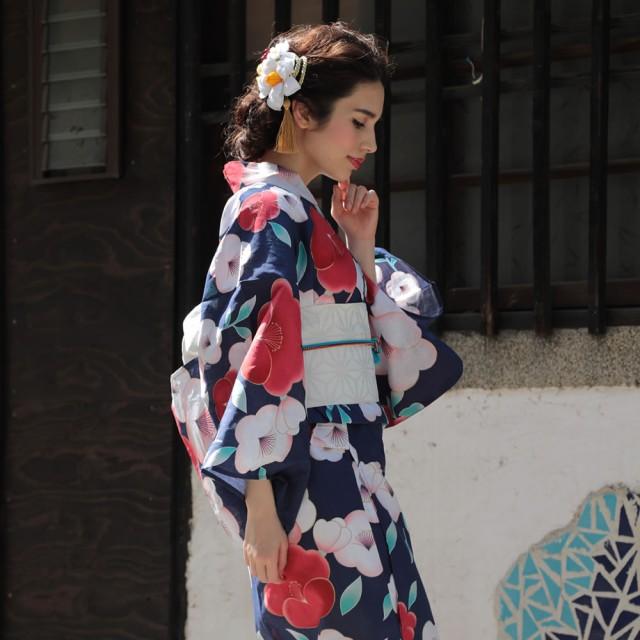 浴衣 レディース 3点セット 紺 椿 (ネイビー/つば...