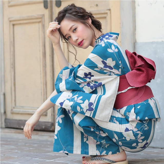 浴衣 レディース 3点セット (ゆかた/帯/下駄) 青 萩 (ブルー/萩(ハギ))(d3606) レトロ モダン フェミニン 大人 個性派 女性 浴
