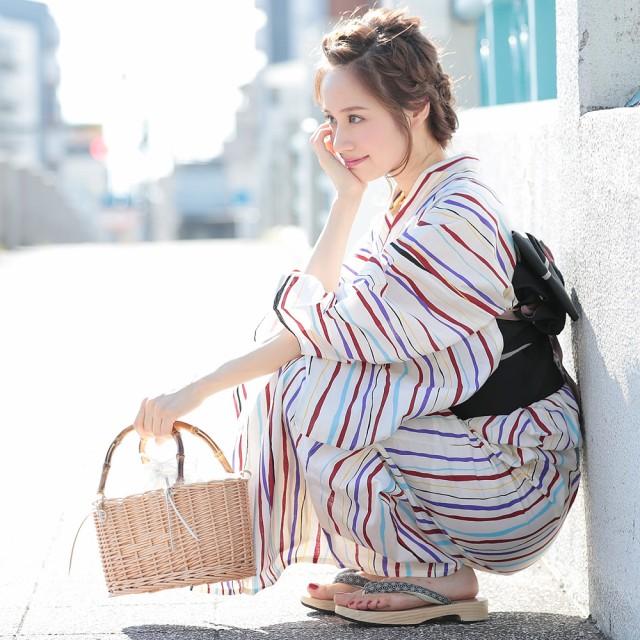 送料無料 浴衣 レディース 3点セット 縞 (ホワイト/しま) (レトロ 浴衣 (d5985)  レトロ モダン フェミニン 大人 個性派 女性 浴衣 セッ