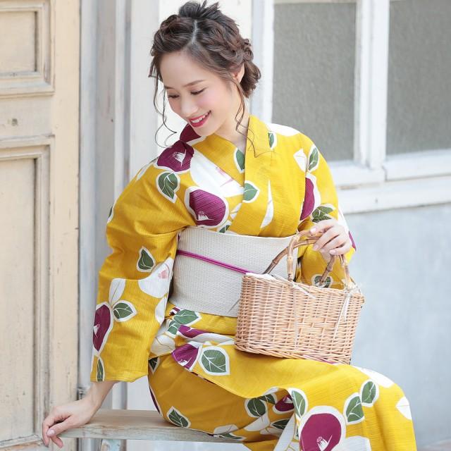浴衣 レディース 3点セット 黄 椿 (イエロー/つばき) (d6114) レトロ モダン フェミニン 大人 個性派 女性 浴衣 セット 2019 ホン
