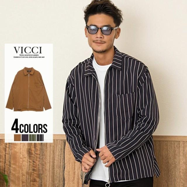 VICCI ビッチ ストライプ柄 8分袖 ジップシャツ ...
